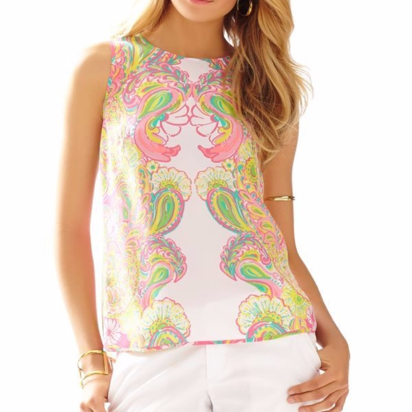 50307b0483d496 Lilly Pulitzer Tops - Lilly Pulitzer Iona Shell 100% Silk- Hotty Pink